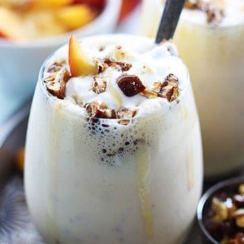 Peaches n' Cream Caramel Pecan Milkshakes