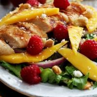 Raspberry Mango Chicken Cashew Salad