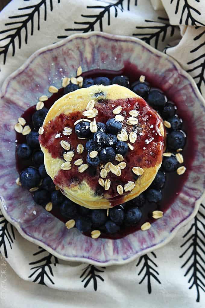 Blueberry Oatmeal Pancakes | Creme De La Crumb
