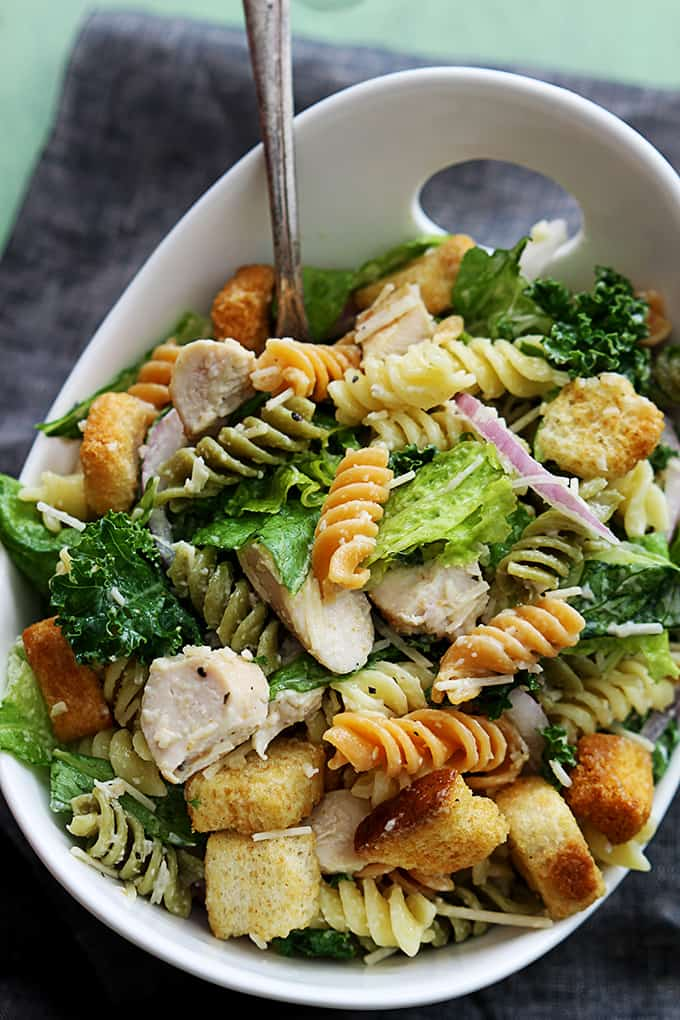 This pasta salad is so easy to make and always a hit at a party!