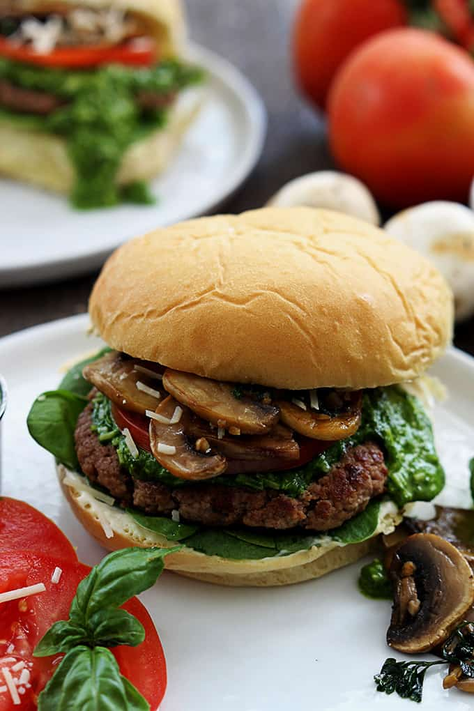 Garlic Pesto Turkey Burgers - Creme De La Crumb