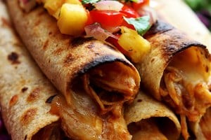 Slow Cooker Hawaiian BBQ Chicken Taquitos