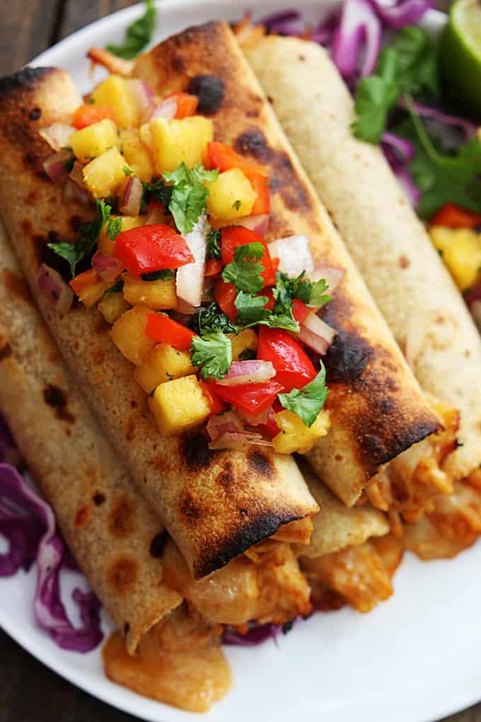 Slow Cooker Hawaiian BBQ Chicken Taquitos