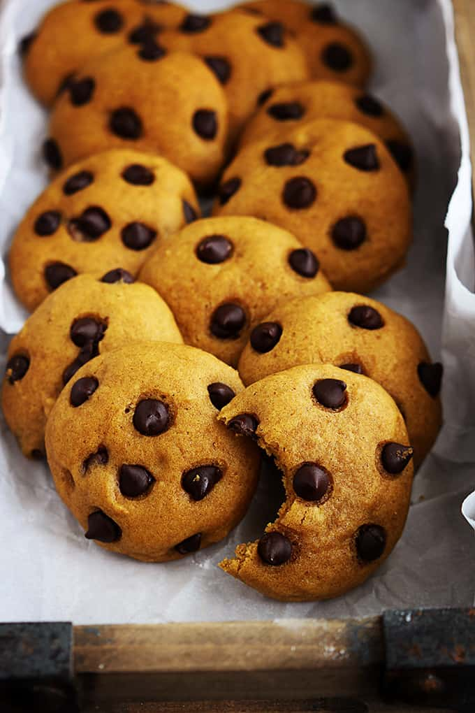 pumpkin chocolate chip cookies with a bite missing from the front cookie.
