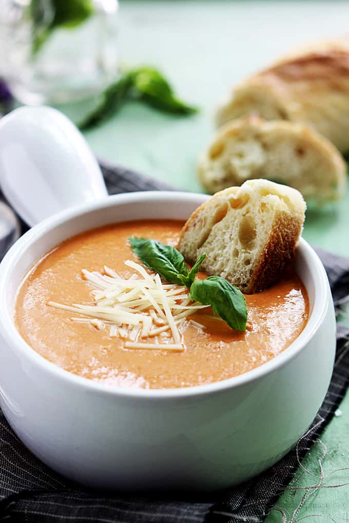 Creamy and rich tomato basil and cheesy parmesan soup made in the ...