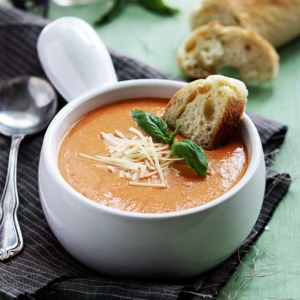 Slow Cooker Tomato Basil Parmesan Soup | phillymomnoms