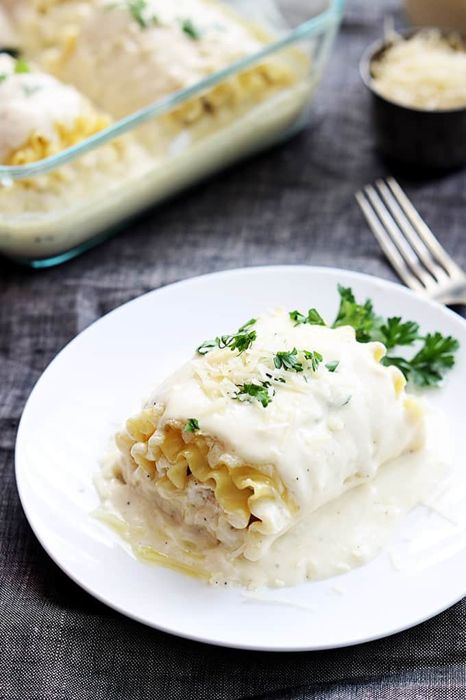 White Chicken Lasagna Rollups