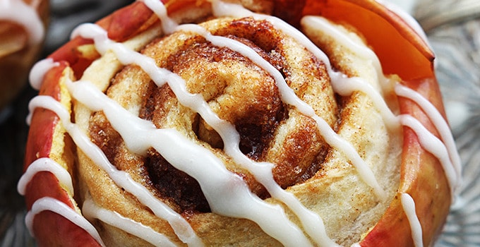 Cinnamon Roll Stuffed Baked Apples