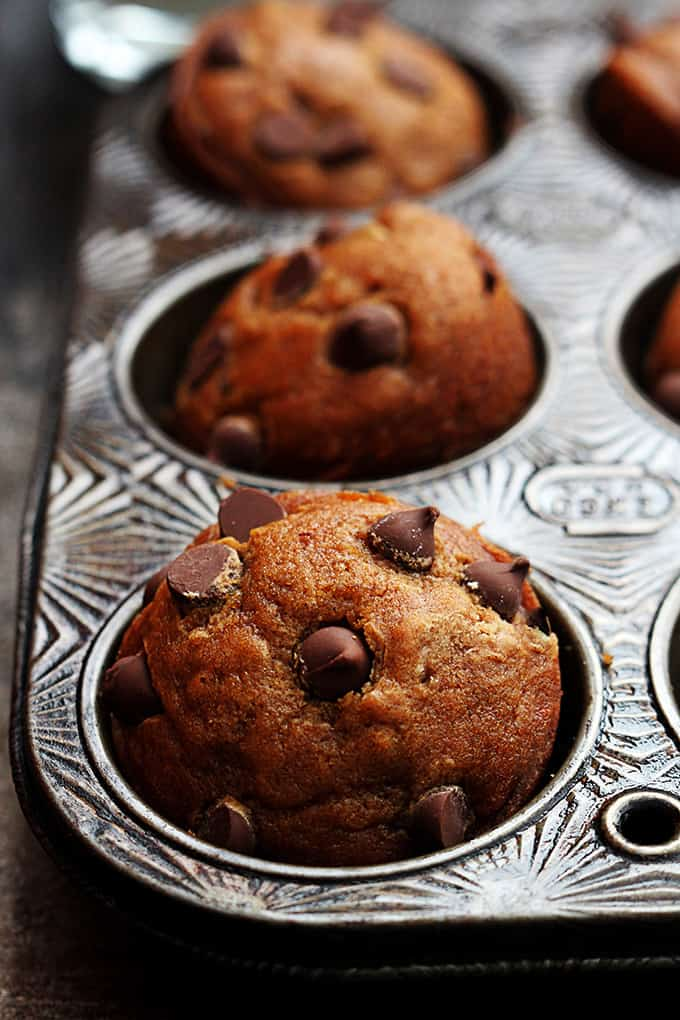 Pumpkin Chocolate Chip Muffins - Creme De La Crumb