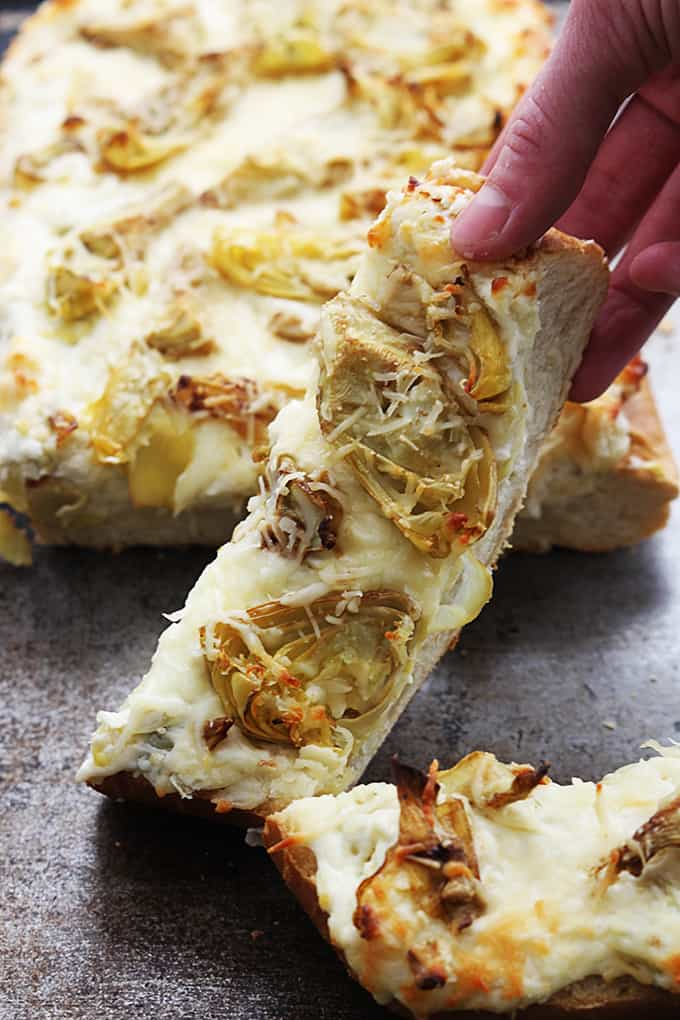 Roasted Garlic Artichoke Bread - Creme De La Crumb