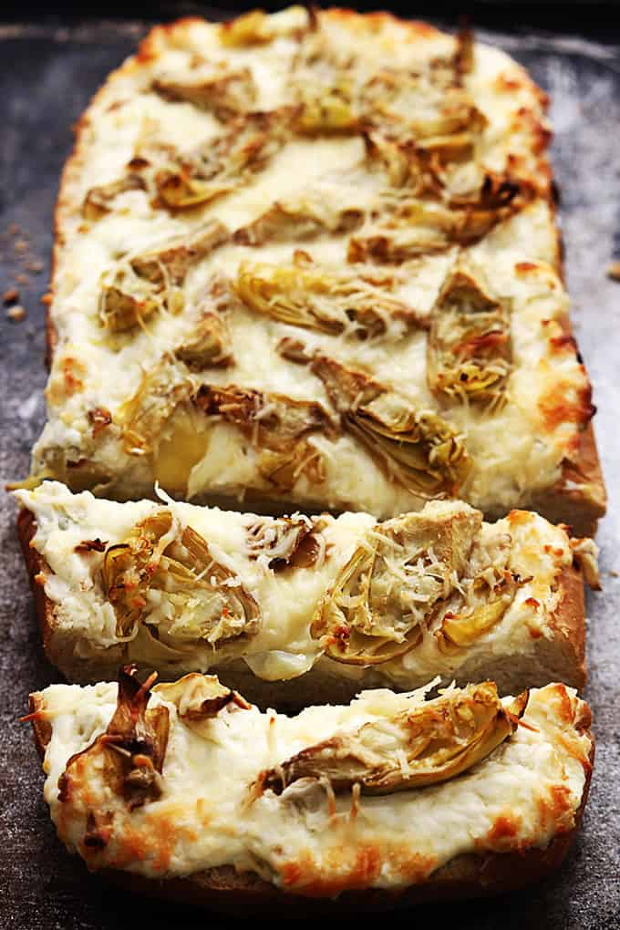 Salty roasted garlic and crispy artichoke bread, made with 3 kinds of ...