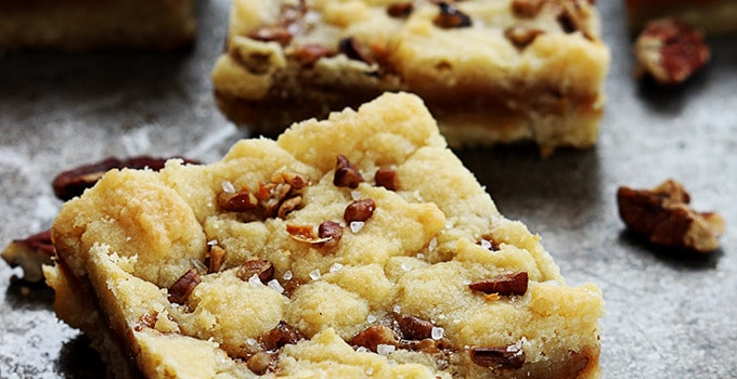Salted Caramel Pecan Butter Bars
