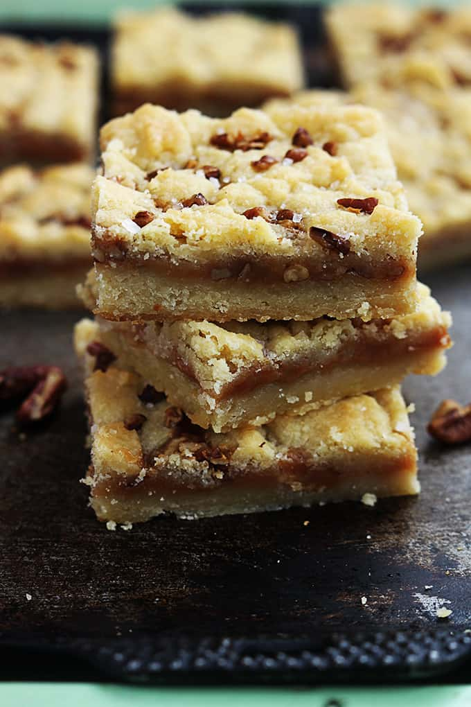 Salted Caramel Pecan Butter Bars - Creme De La Crumb