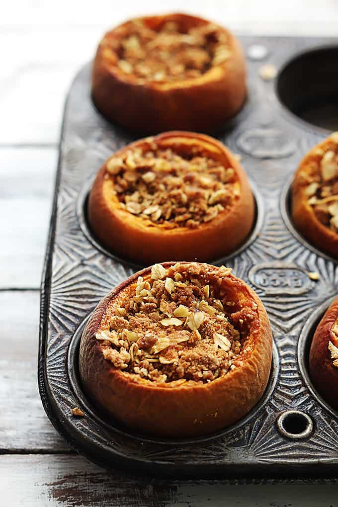 Peach Crisp Stuffed Baked Peaches