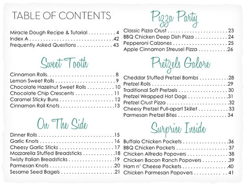 Miracle Dough e-Book Table of Contents