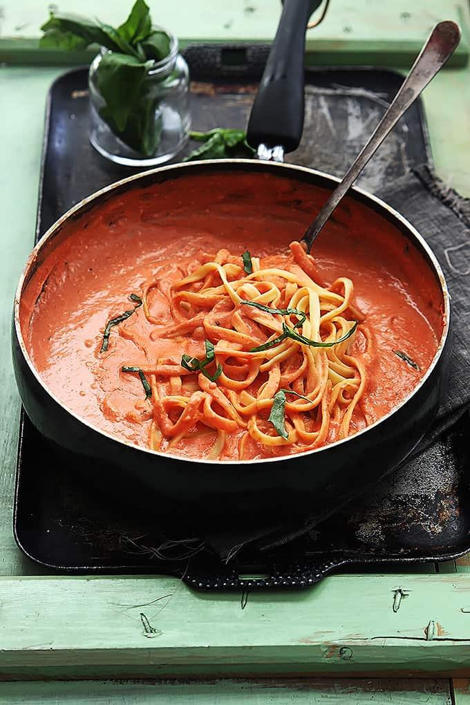 Creamy Tomato Basil Fettuccini