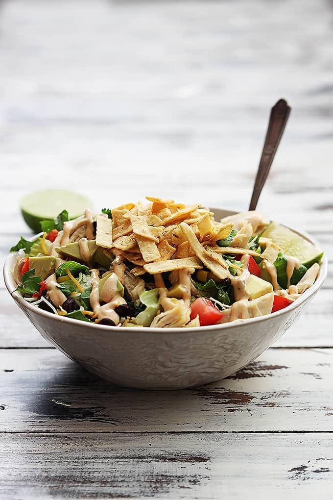 a bowl of leftover turkey taco salad.