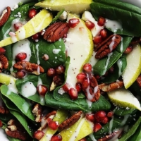 Pomegranate Pear & Pecan Salad with Poppyseed Dressing