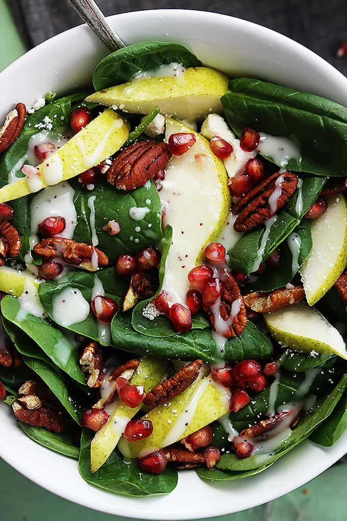 Pomegranate Pear Pecan Salad With Poppyseed Dressing Creme De La