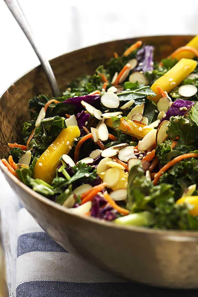 Asian Kale Salad with Creamy Peanut Dressing