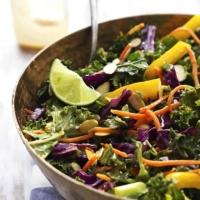 Asian Kale Salad with Creamy Peanut Dressing