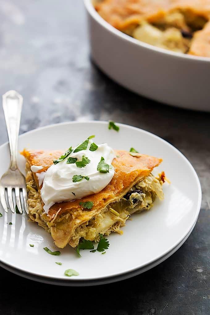 Ingredient Chicken Verde Tortilla Pie | Creme de la Crumb ...