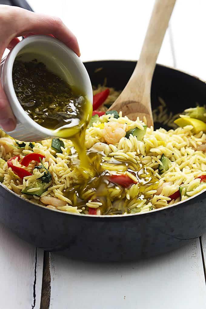 Shrimp & Veggie Orzo with Pesto Vinaigrette