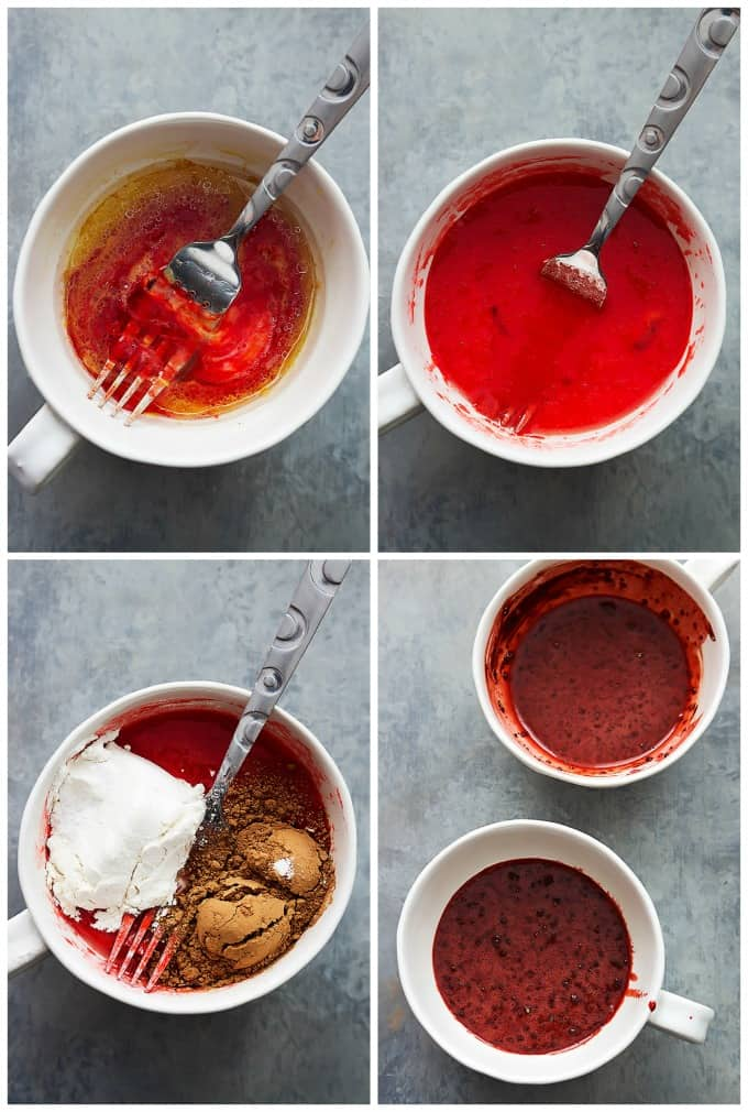 Red Velvet Mug Cakes for Two | Creme de la Crumb