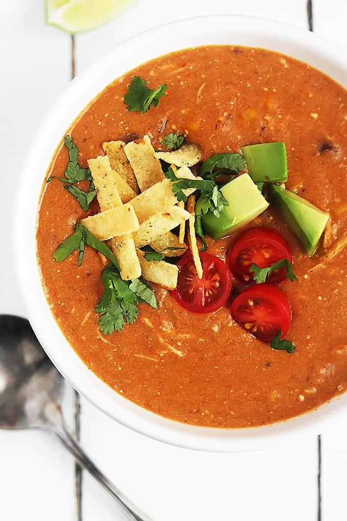 Slow Cooker Chicken Enchilada Soup Creme De La Crumb