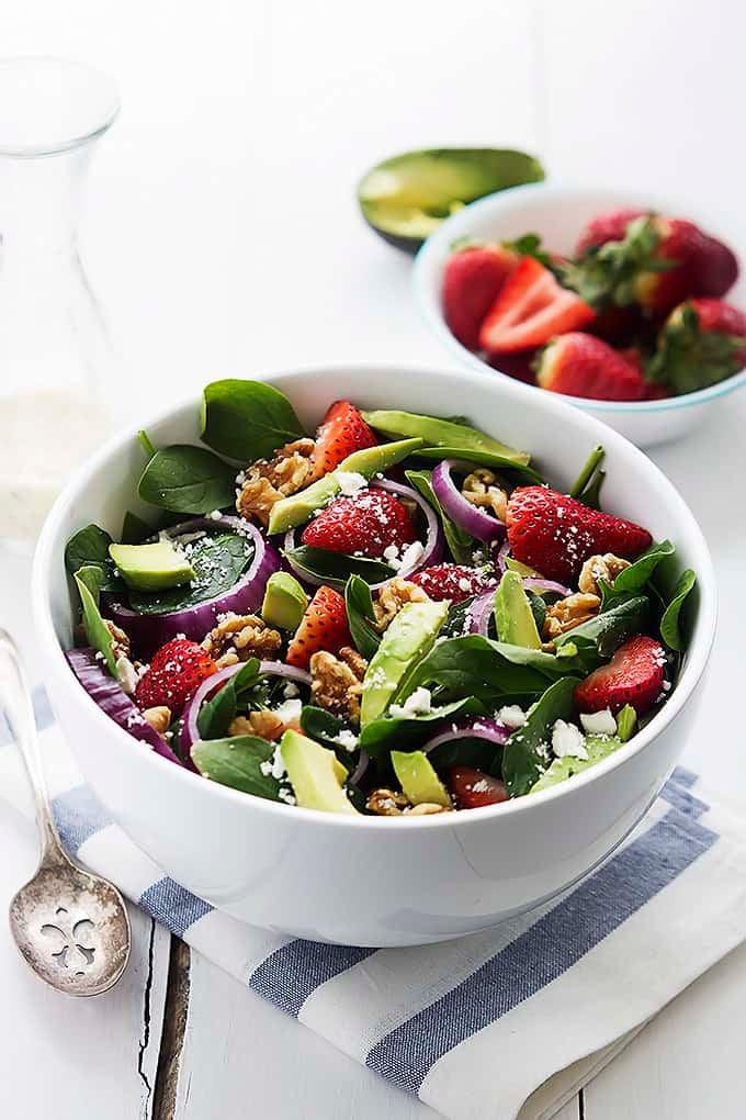 Strawberry Avocado Spinach Salad - Creme De La Crumb