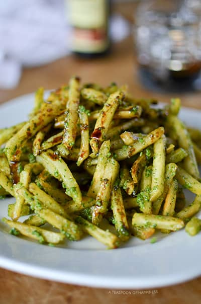 pesto fries on a plate.