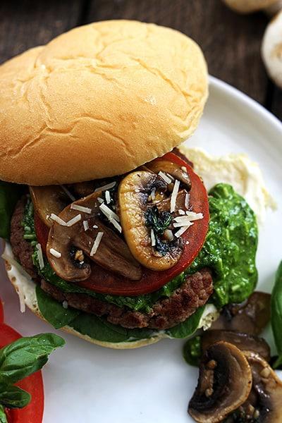 a garlic pesto turkey burger on a plate.