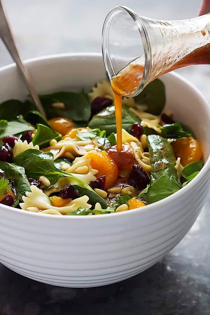 Bowtie pasta spinach salad 3