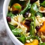 Mandarin Pasta Spinach Salad with Teriyaki Dressing | lecremedelacrumb.com