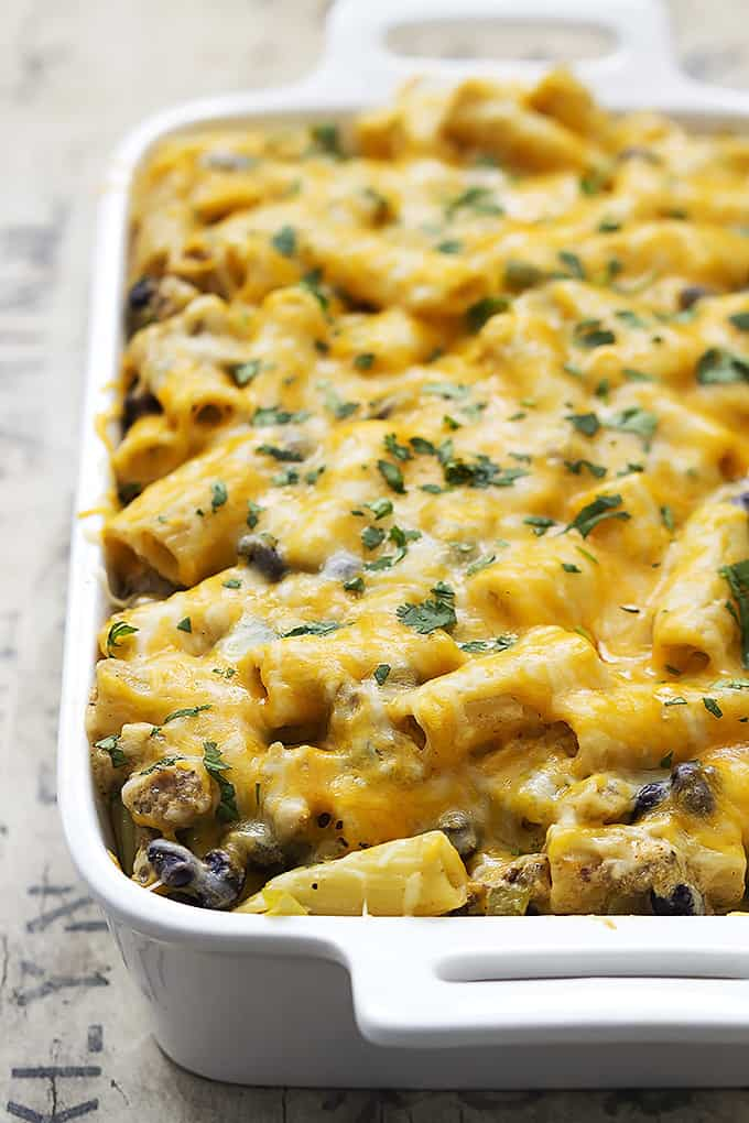 Yayyyyy for cheesy saucy baked Mexican pasta dishes!