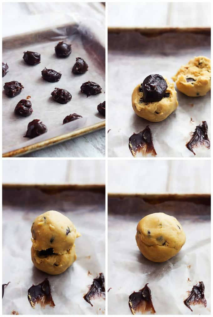 a collage of 4 images of the step by step process to make hot fudge stuffed chocolate chip cookies.