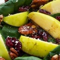 Apple Cherry Candied Pecan Salad with Sweet Balsamic Dressing | Creme de la Crumb