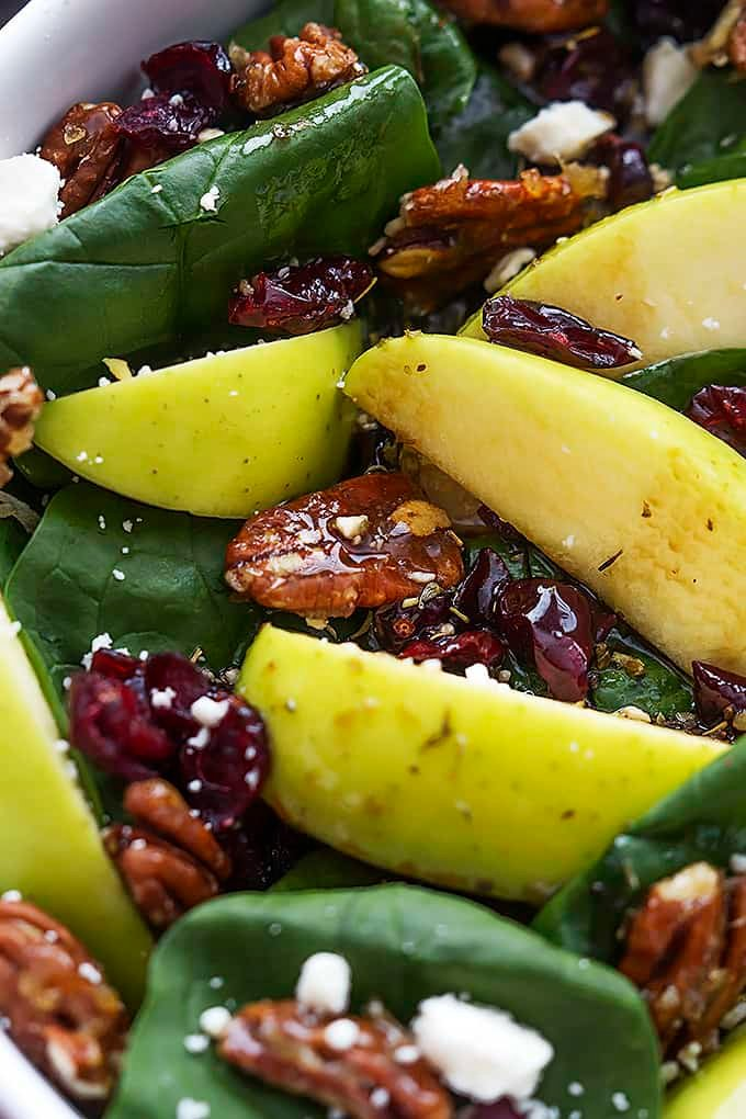 close up of apple cherry candied pecan salad with sweet balsamic dressing.