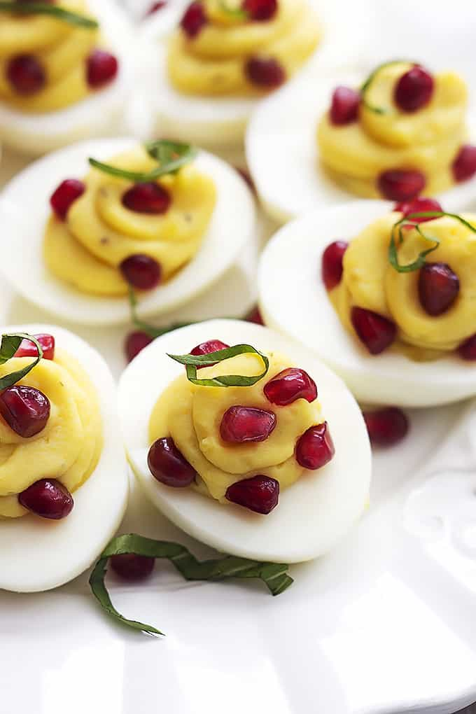 Basil Pomegranate Deviled Eggs | Creme de la Crumb