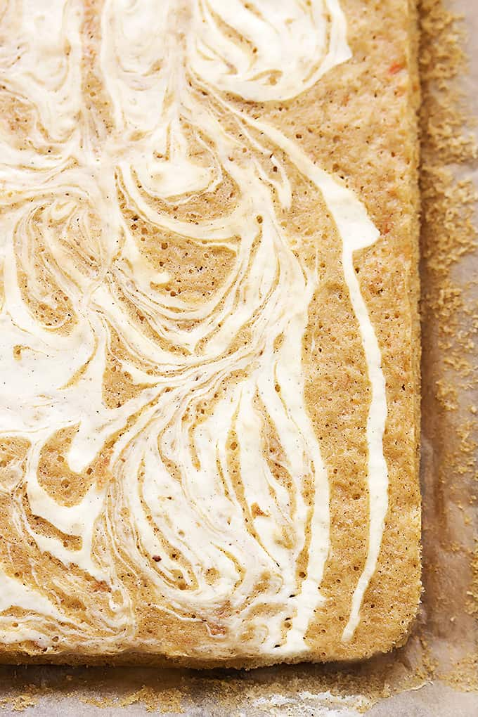 Cream Cheese Swirled Carrot Cake Bars