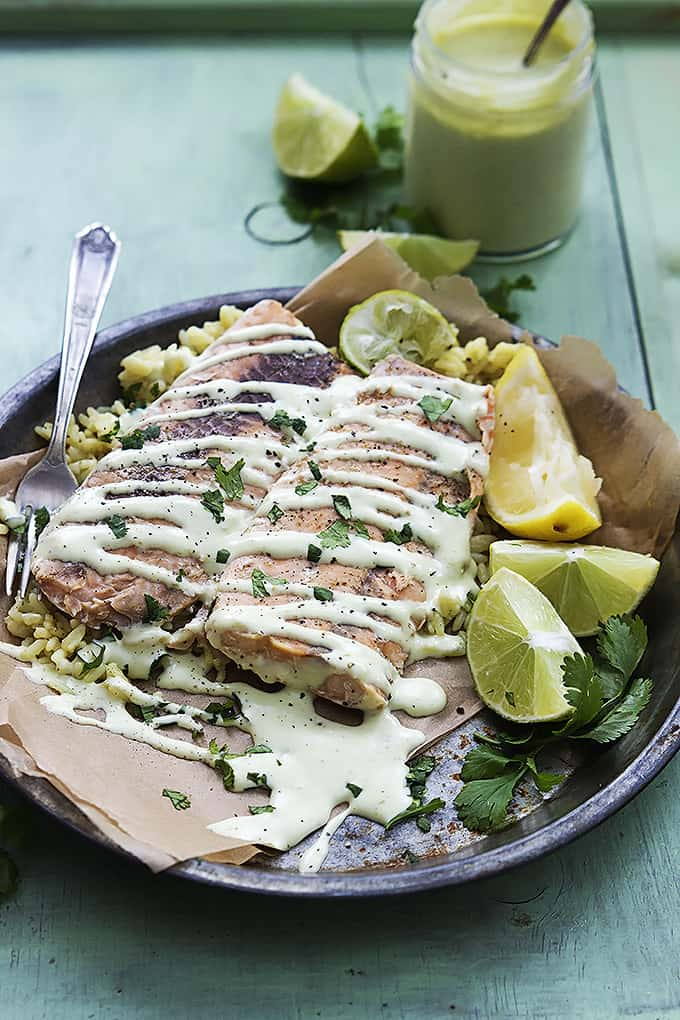 Baked Salmon with Avocado Cream Sauce | Creme de la Crumb