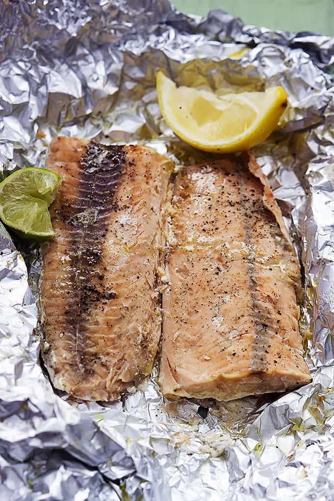 ... juicy, flakey pink salmon wrapped in foil and baked to perfection