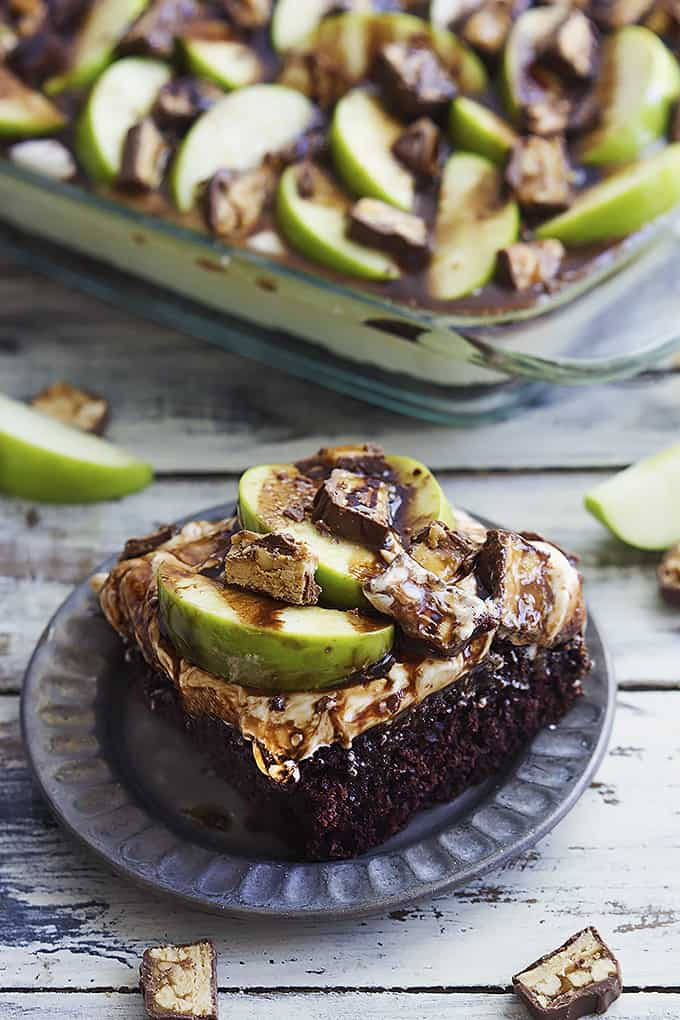 Caramel Apple Snickers Cake