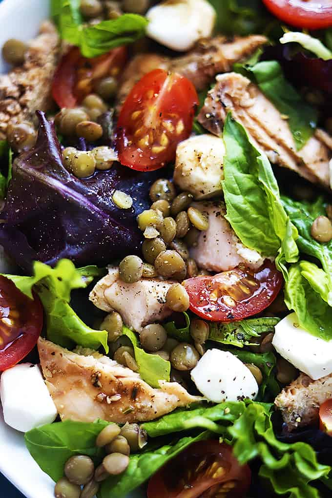 Salmon & Lentil Caprese Salad | Creme de la Crumb