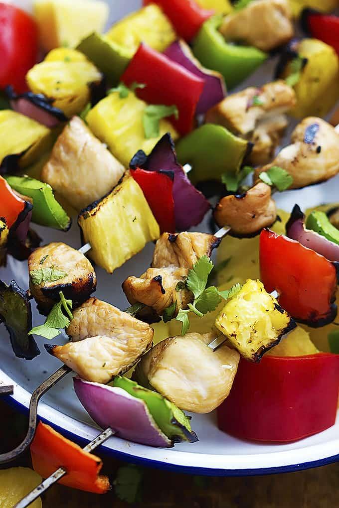 Grilled Hawaiian Chicken Kabobs | Creme de la Crumb