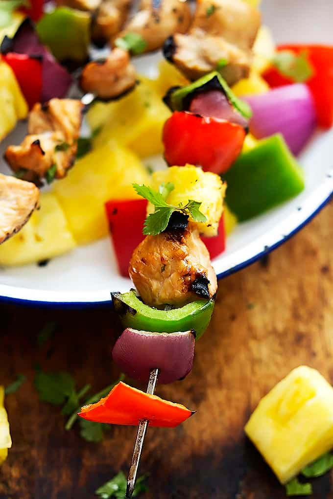 Grilled Hawaiian Chicken Kabobs | Creme de la Crumb