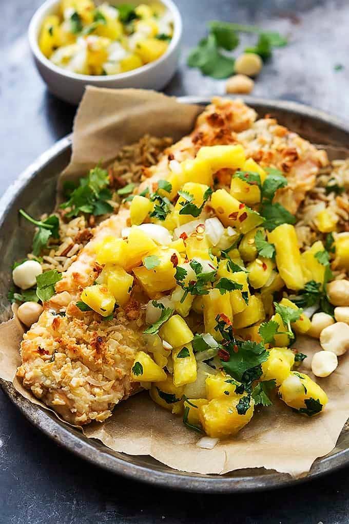 Macadamia Salmon with Pineapple Salsa | Creme de la Crumb