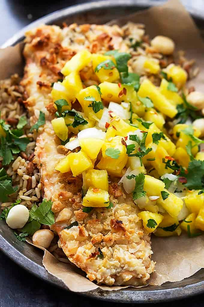 Macadamia Salmon with Pineapple Salsa | Creme de la Crumb