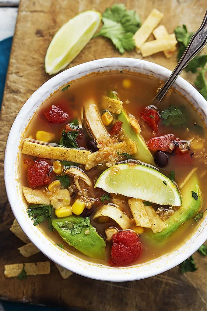 Quinoa Chicken Tortilla Soup| Creme de la Crumb