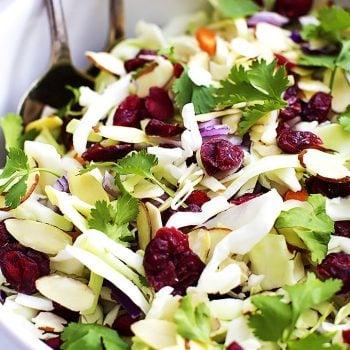 Asian Cranberry Almond Salad + Sesame Dressing | Creme de la Crumb